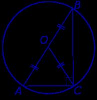 Описанная около прямоугольного треугольника окружность