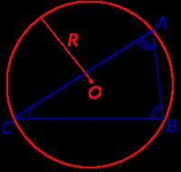 Формула площади треугольника через радиус описанной окружности